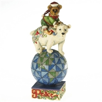 Boyds Christmas Bear on Polar Bear Figurine, 4016474