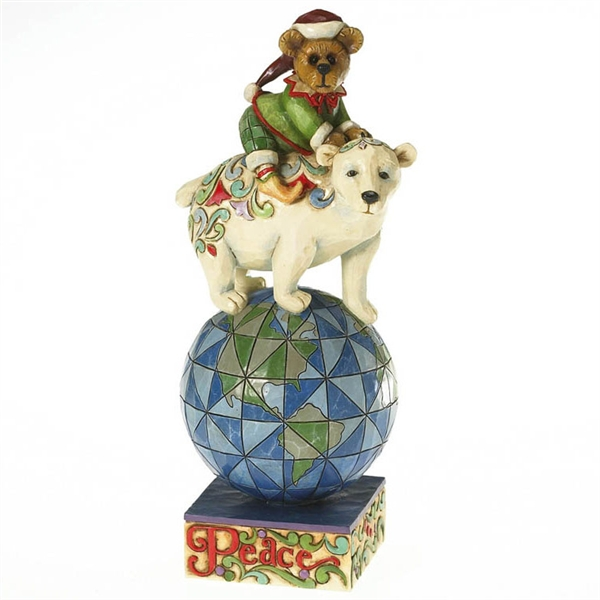 Boyds Christmas Bear On Polar Bear Figurine By Jim Shore