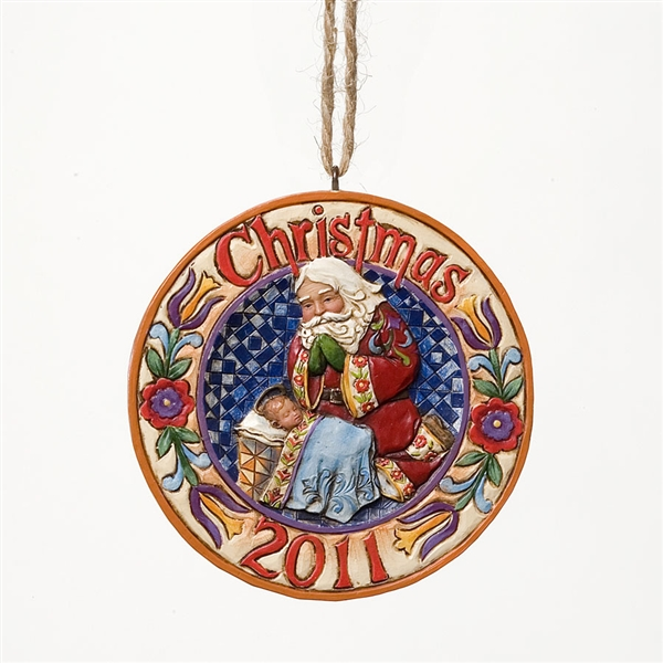 Heartwood Creek 2011 Dated Santa And Baby Jesus Ornament