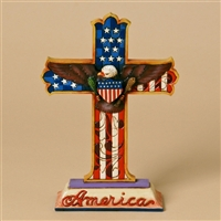 Heartwood Creek Patriotic Eagle and Flag Cross by Jim Shore, 4025827