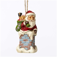 Heartwood Creek Santa Down Chimney Hanging Ornament by Jim Shore