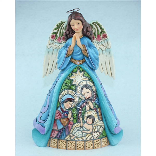 Holy Family With Angel Hair Glass Ornament: With Stained Glass Nativity Scene