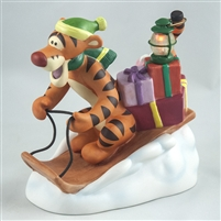 Tigger Delivering Presents on Sled - Pooh & Friends Christmas Figurine w/ Light, 4008057