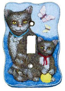 Flossies Gifts Light Switchplates Covers 3d Cat And Butterfly