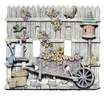 3D Birdhouse/Flowers/Cart Double Light Switchplate Cover - 1749