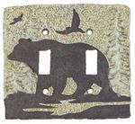 3D Bear Theme Double Ligth Switchplate Cover - 1764