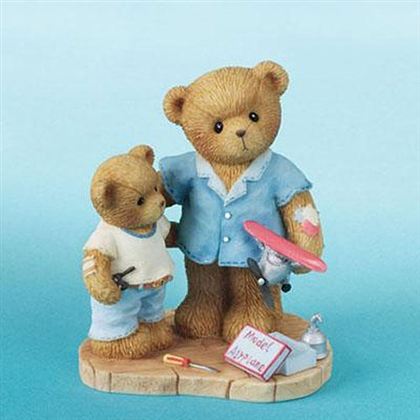 Father and Son with Model Airplane - Cherished Teddies Figurine, 4007737