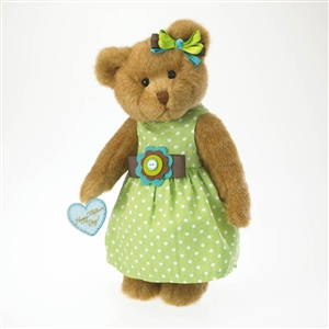 Boyds 10 inch Plush Bear in Green Polka Dot Dress Mother's Day 4027309