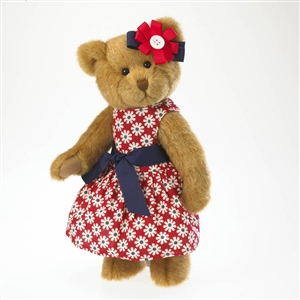 Boyds 10in Plush Bear in Red and White Sundress 'Madison' 4028228