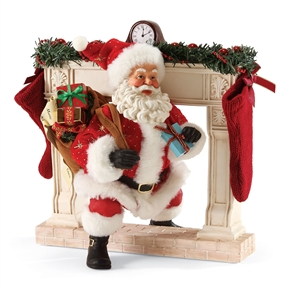 Possible Dreams Santa and Fireplace Figurine Set