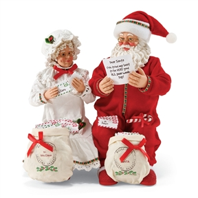 Possible Dreams 'Lots of Letters' Santa and Mrs. Claus Figurine Set