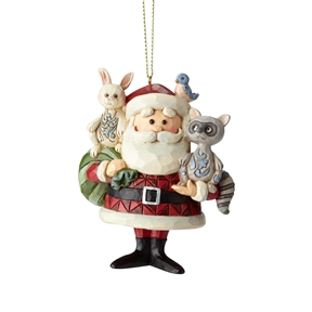 Rudolph Traditions Santa Claus with Woodland Animals Ornament.