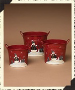 Bells Snowman Metal Buckets - 650773