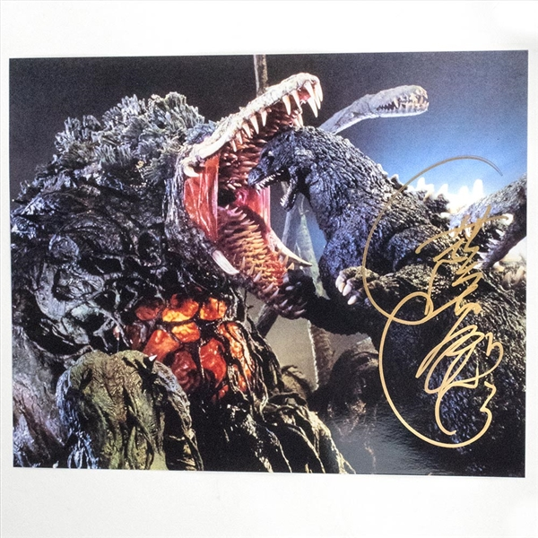 Heisei Godzilla Suit Actor Kenpachiro Satsuma Autographed 'Biollante Attack' Photo - July 2019, Indianapolis