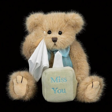 Bearington 'Miss You Beary Much', 10in Plush Bear with Tissues, 1717