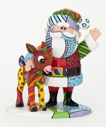 Britto Rudolph Red Nosed Reindeer and Santa Figurine 4039613