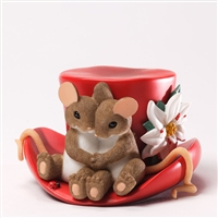 Mouse Couple on Christmas Top Hat - Charming Tails Figurine, 4034346
