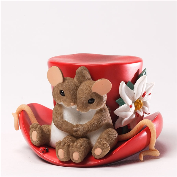 Christmas Top Hat.Mouse Couple On Christmas Top Hat Charming Tails Figurine 4034346