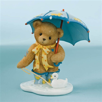Girl Bear with Umbrella and Duck - Cherished Teddies Figurine, 4009578