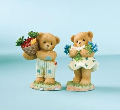 Bears with Picked Vegetables and Flowers - Cherished Teddies 2-Piece Figurine Set, 4010127