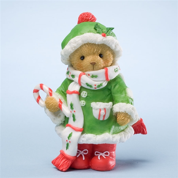 Christmas Bear in Coat with Candy Cane - Cherished Teddies Figurine, 4024339