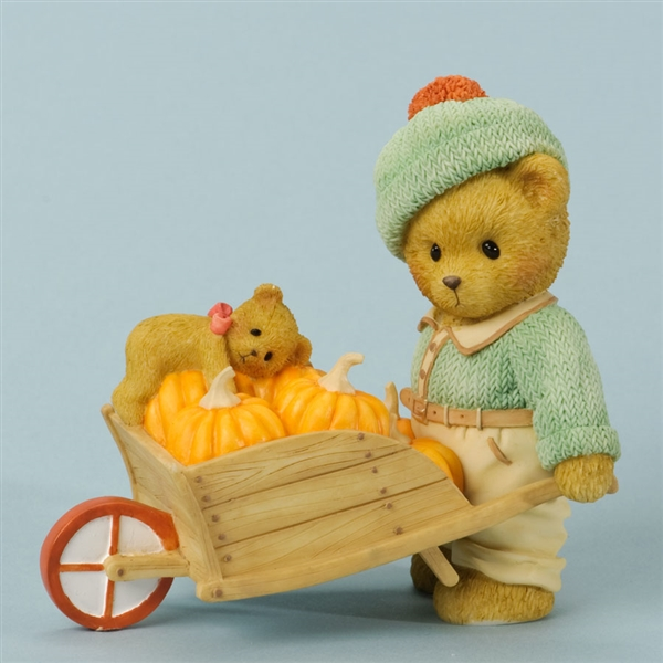 Bear with Pumpkins Wheelbarrow - Cherished Teddies Figurine, 4035941