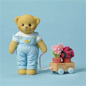 Cherished Teddies Bear with Flower Pots for Mom Figurine