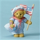 Cherished Teddies Bear Holding American Flag Figurine