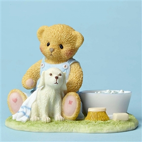Cherished Teddies Bear Bathing Dog Figurine