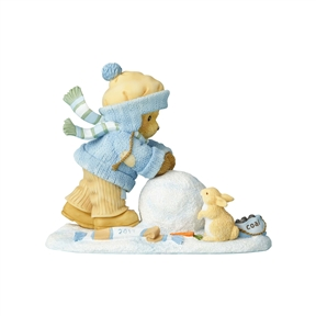 Cherished Teddies Bear Making Snowman 2017 Dated Figurine