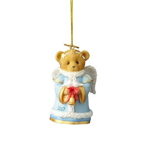 Cherished Teddies Retired Bear with Bell 2017 Dated Ornament