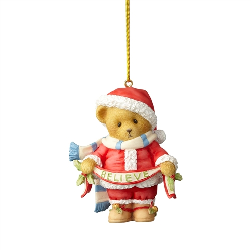 Cherished Teddies Bear in Santa Suit with 'Believe' Banner Ornament