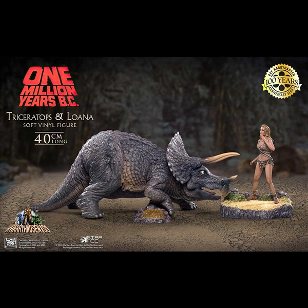 One Million Years B.C. Triceratops and Loana Vinyl Figure Set by Star Ace / X-Plus
