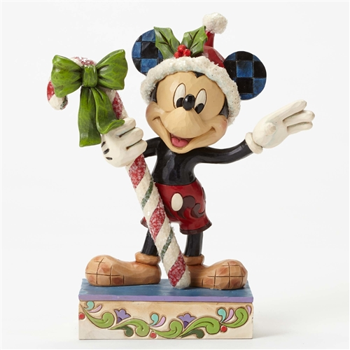Disney Traditions Mickey Mouse Holding Candy Cane Figurine By Jim Shore, 4051968