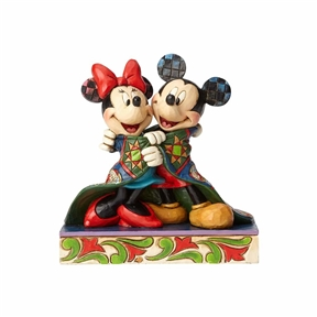 Disney Traditions Mickey and Minnie with Christmas Quilt Figurine