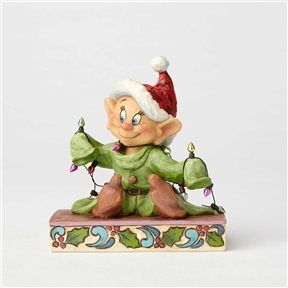 Disney Traditions Dopey with Christmas Lights Figurine