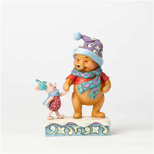 Disney Traditions Pooh with Piglet Winter Figurine