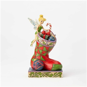Disney Traditions Christmas Tinker Bell with Stocking Figurine