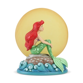 Disney Traditions Ariel is Sitting on Rock by Light-up Moon Figurine by Jim Shore | 6005954