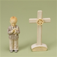 Foundations Boy Communion Figurine And Cross Set, 4021240