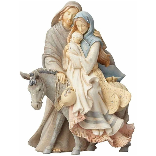 Foundations Holy Family Traveling with Donkey Figurine