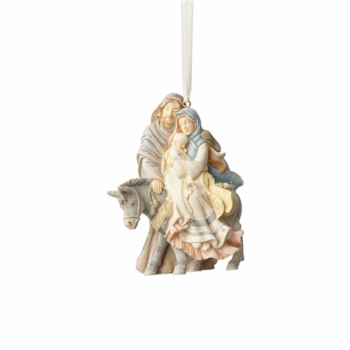 Foundations Holy Family Traveling with Donkey Ornament 4058698
