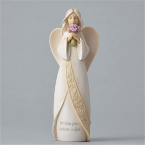 Foundations Angel with Purple Flowers Figurine, 4049237