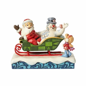 Frosty, Santa and Karen with Sleigh Figurine by Jim Shore