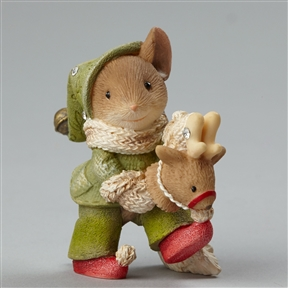 Heart of Christmas Mouse on Toy Reindeer Foundations Figurine