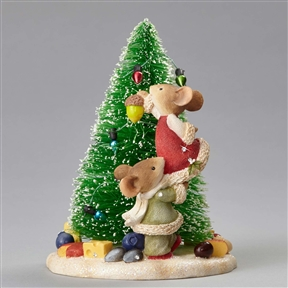 Heart of Christmas Mice Decorating Christmas Tree Foundations Figurine