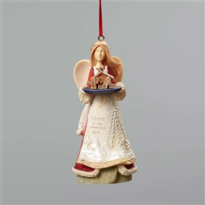 Heart of Christmas by Foundations, Angel w/Nativity Hanging Ornament