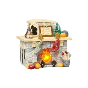 Heart of Christmas Mouse's Fireplace Lighted Figurine