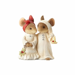 Heart of Christmas Mouse Couple in Bedclothes Figurine