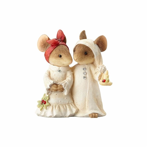 Heart of Christmas Mouse Couple in Bedclothes Figurine by Foundations, 4057651